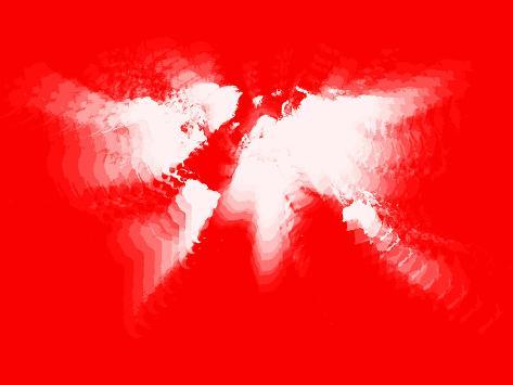 Red and white radiant world map cartel de plstico por naxart en red and white radiant world map cartel de plstico gumiabroncs Image collections