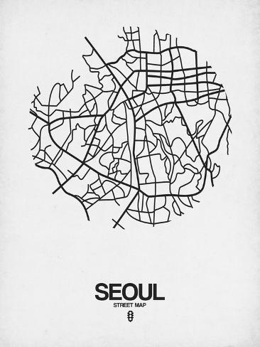 Seoul Street Map White Prints By Naxart At Allposters Com