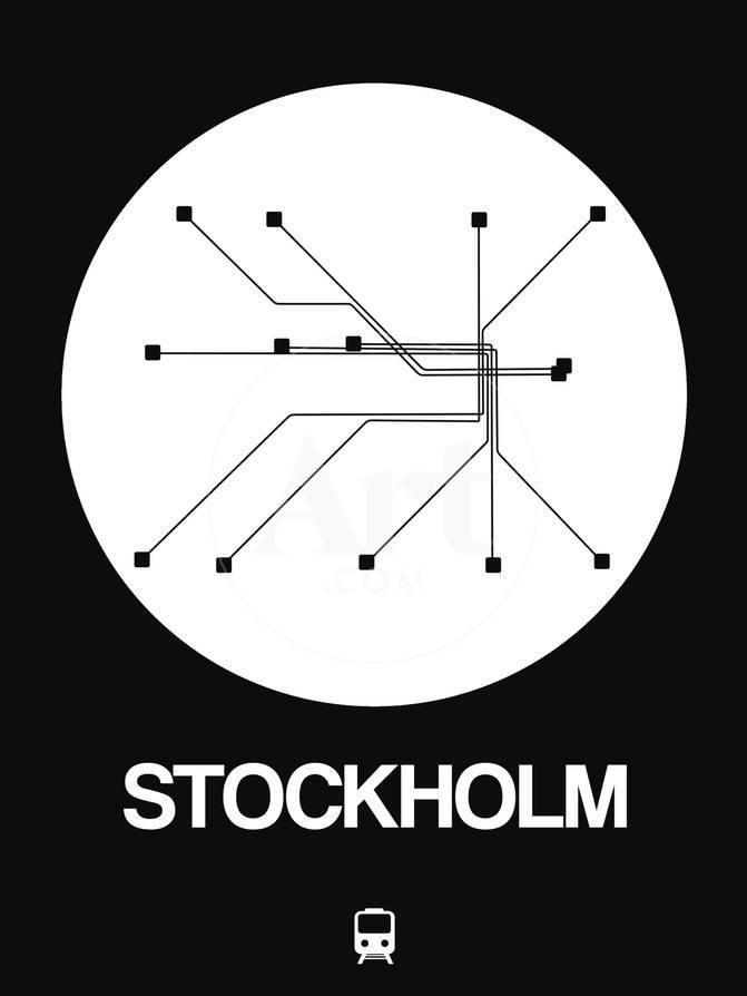 Black And White Subway Map.Stockholm White Subway Map