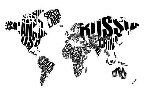 Typography World Map 5 Prints By Naxart By Allposters Ie