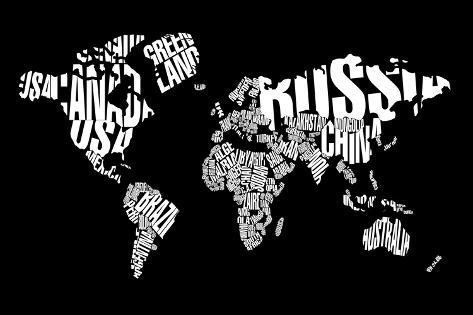 Typography World Map 6 Posters By Naxart By Allposters Ie