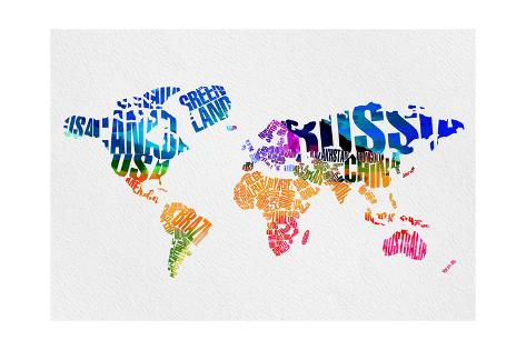 Typography World Map 7 Prints By Naxart At Allposters Com