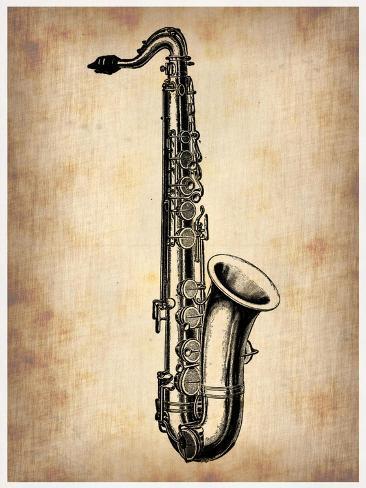 Vintage Saxophone Art Print