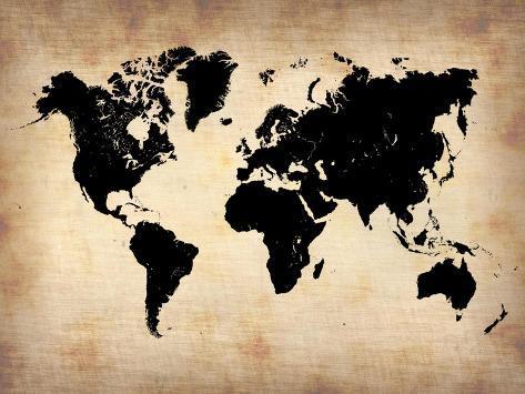 Vintage World Map Plastic Sign