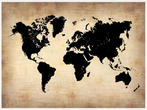 Vintage World Map Art Print