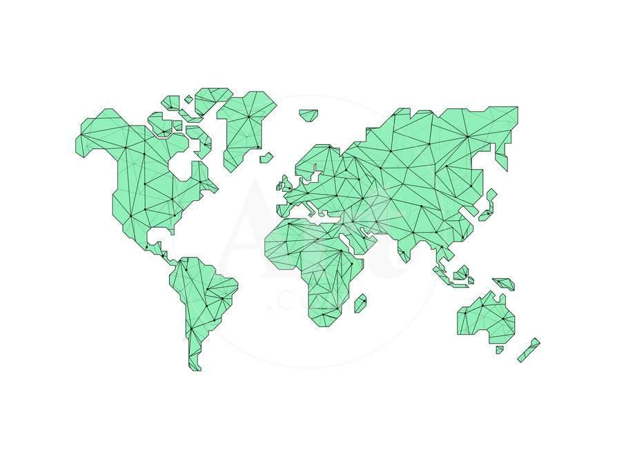 World Map Green Prints by NaxArt at AllPosters.com