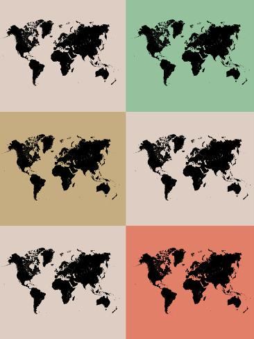 World Map Grid Poster 2 Art Print
