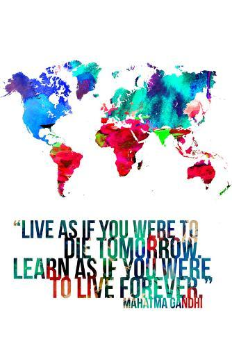 World Map Quote Mahatma Gandi Poster