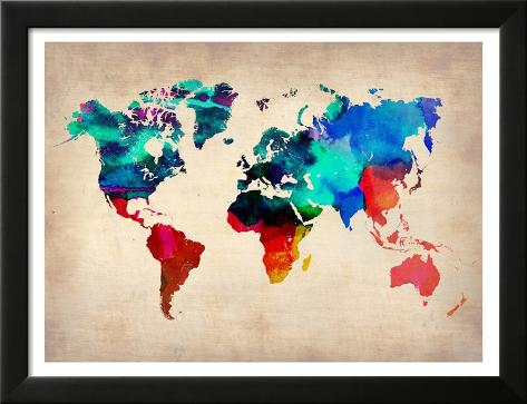 World Watercolor Map 1 Framed Art Print