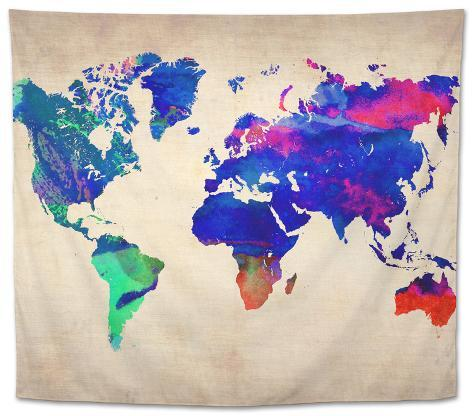 World Watercolor Map 2 Tapestry