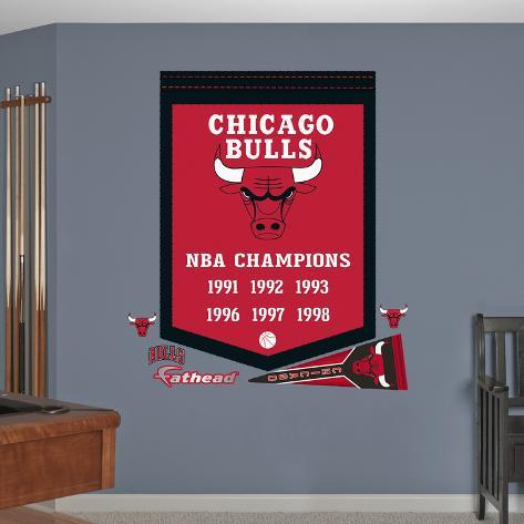 NBA Chicago Bulls Championships Banner Wall Decal Sticker Wall Decal