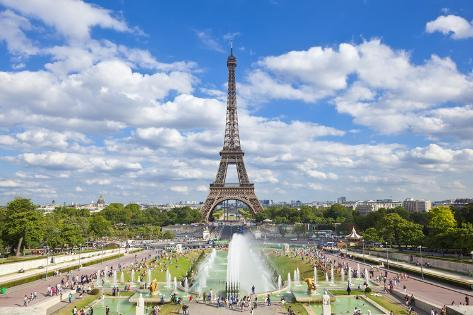 Eiffel Tower and the Trocadero Fountains, Paris, France, Europe Photographic Print