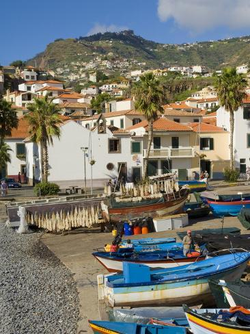 Drying Salt Cod (Bacalhau) and Fishing Boats in the Coast Harbour of Camara De Lobos, Portugal Photographic Print