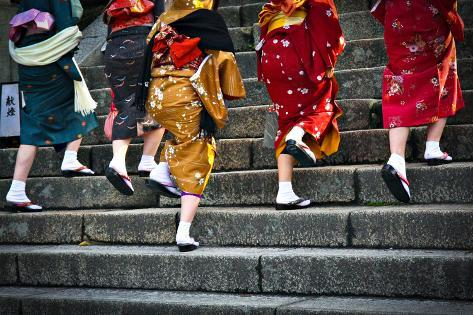 Japanese Ladies in Traditional Dress Photographic Print
