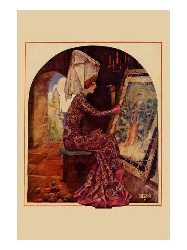 Medieval Girl Sews a Tapestry Art Print