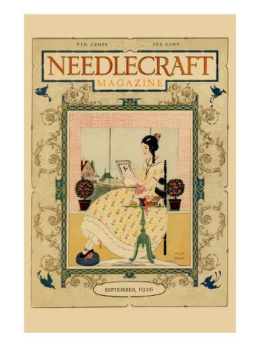 Victorian Girl Does Needlepoint Portrait Art Print