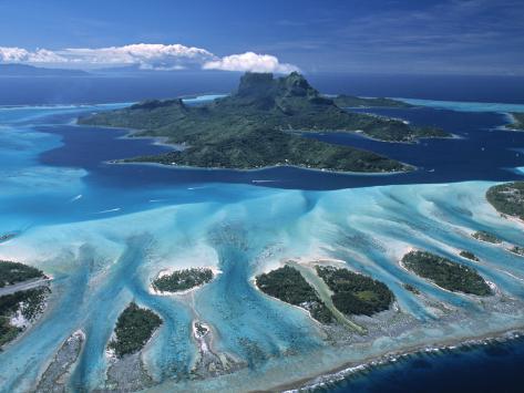 Aerial View over Bora Bora, French Polynesia Photographic Print