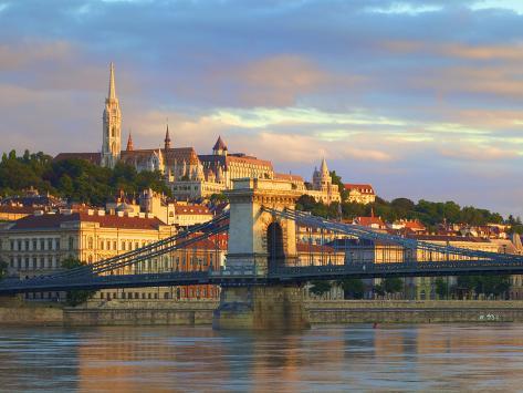 Chain Bridge, Matyas Church and Fisherman's Bastion, Budapest, Hungary Photographic Print