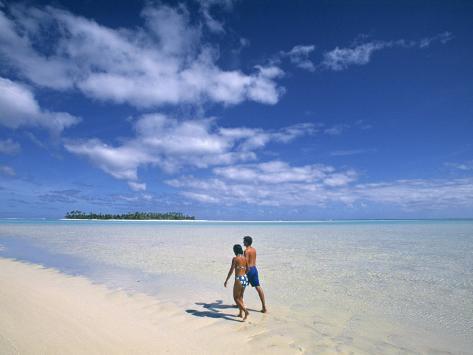 Couple on a Beach, Aitutaki, Cook Islands Photographic Print