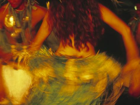 Dancing Girls in Traditional Costume, Cook Islands Photographic Print