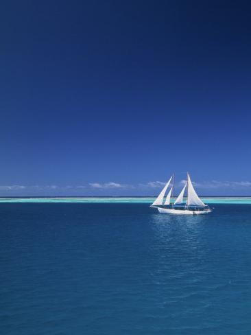 Sailing Boat, Mamanuca, Fiji Photographic Print