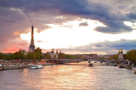 Bridge of Alexandre III and Eiffel Tower,  Paris, Photographic Print