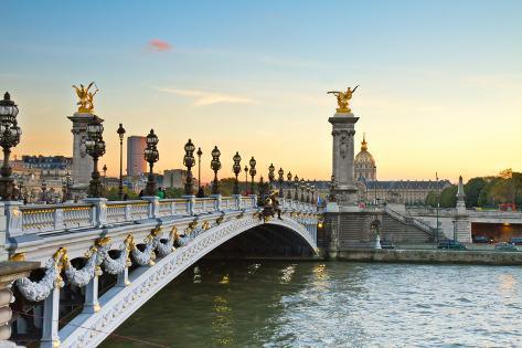 Bridge of Alexandre III at Sunset Photographic Print