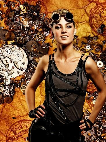 Steampunk Girl Over Grunge Background Photographic Print