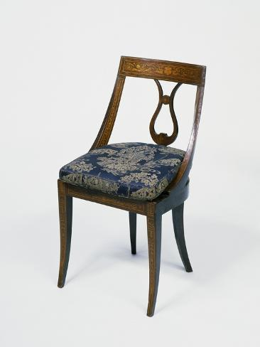 Neoclassical Style Lombard Chair With Giuseppe Maggiolini Style Inlays,  Italy