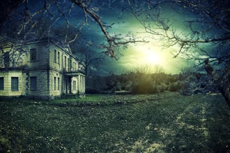 Spooky Haunted House at Dusk Photographic Print