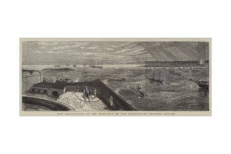 New Breakwater at the Entrance of the Harbour of Colombo, Ceylon Giclee Print