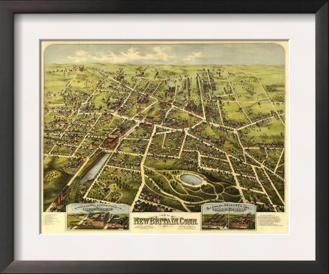 New Britain, Connecticut - Panoramic Map Framed Art Print