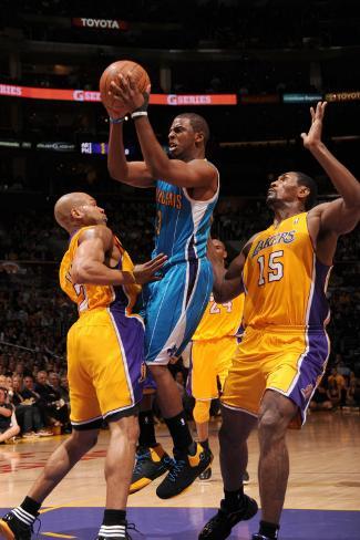 New Orleans Hornets v Los Angeles Lakers - Game Five, Los Angeles, CA - April 26: Chris Paul, Derek Photographic Print