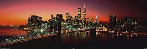 New York - Brooklyn Bridge at night Poster