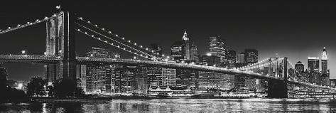 New York - Brooklyn Bridge b/w Poster