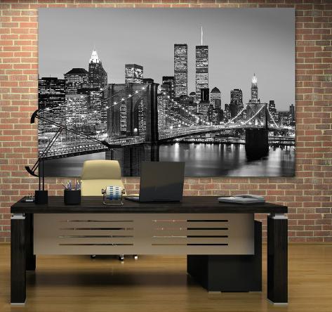 New York City Brooklyn Bridge by Henri Silberman Mini Mural Huge ...