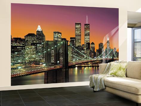 New York City Brooklyn Bridge Sunset Huge Wall Mural Art Print Poster Mural  De Papel De Part 77