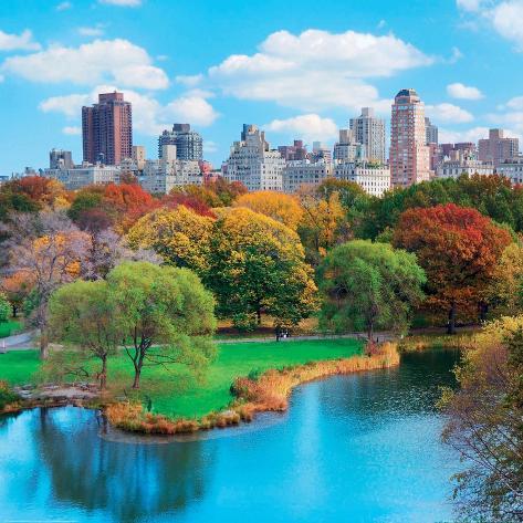 New York City Manhattan Central Park - Panorama in Autumn Art Print
