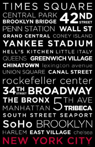 New York City Red White and Black Masterprint