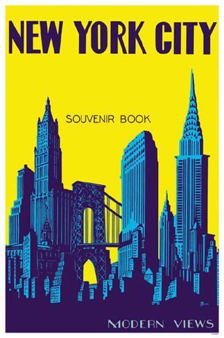 New York City Souvenir Book Brooklyn Bridge Masterprint
