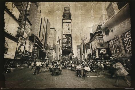 New York City (Times Square, B&W) Art Poster Print Poster