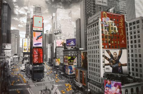 NEW YORK, flygbild över Times Square Poster