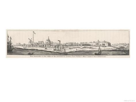 New York: Panoramic View When It was Known as New Amsterdam Giclee Print