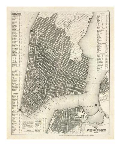 New York, Plan, c.1844 Art Print