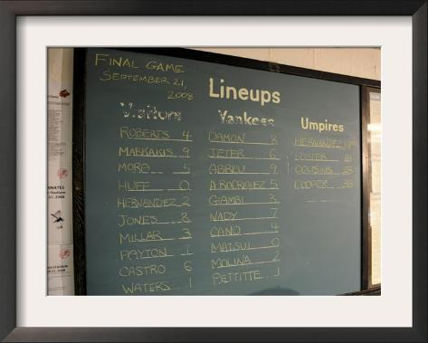 New York Yankee Stadium Finale Line Up, New York, NY Framed Photographic Print