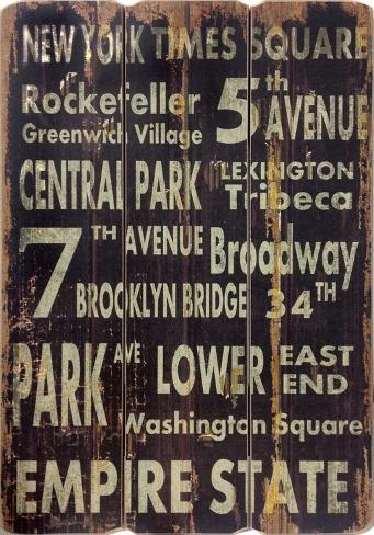 New York Wood Sign