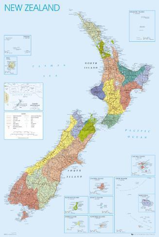 NEW ZEALAND MAP Pôster