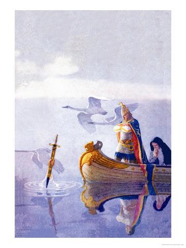 Arthur and Excalibur Art Print