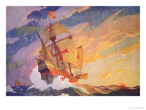 Columbus Crossing the Atlantic, 1927 Giclee Print
