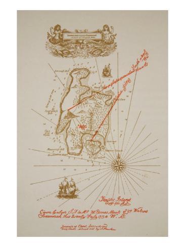 Map of Treasure Island, an illustration from 'Treasure Island' by Robert Louis Stevenson Giclee Print